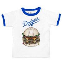 Los Angeles Dodgers Tiny Turnip Youth Ringer Burger T-Shirt - White/Royal