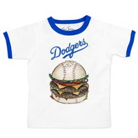 Los Angeles Dodgers Tiny Turnip Youth Ringer Burger T-Shirt - White/Royal