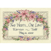 "One Love Wedding Record Mini Counted Cross Stitch Kit, 7"" x 5"", 18-Count"