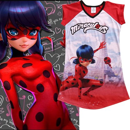 Miraculous Ladybug Big Girls' Dress Casual Summer Girl Dresses Clothes 5-16Y - Girls Ladybug