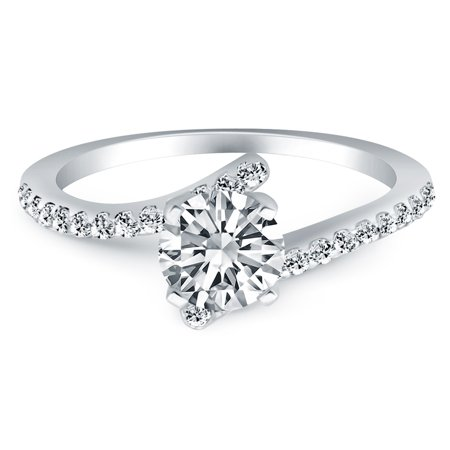 14k White Gold Open Shank Bypass Diamond Engagement Ring - image 2 of 2