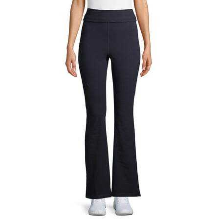 Athletic Works Women's Athleisure Flared Yoga Pant with Fold over Waistband in Regular and Petite