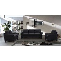 3 Piece Sectional Couch, Living Room Furniture Sofa with Removable Cushions, Couch and Sofa Set with Solid Frame and Leg, Included 80'' 3 Seat Sofa, 55'' Loveseat and Armchair, 500lbs, Black, A53