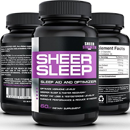 Sheer SLEEP, #1 Night Time Sleep Aid & Recovery Supplement with Melatonin, GABA, Valerian Root + More - 100% Pure, Proven, Natural Sleeping Pills - 60 Capsules