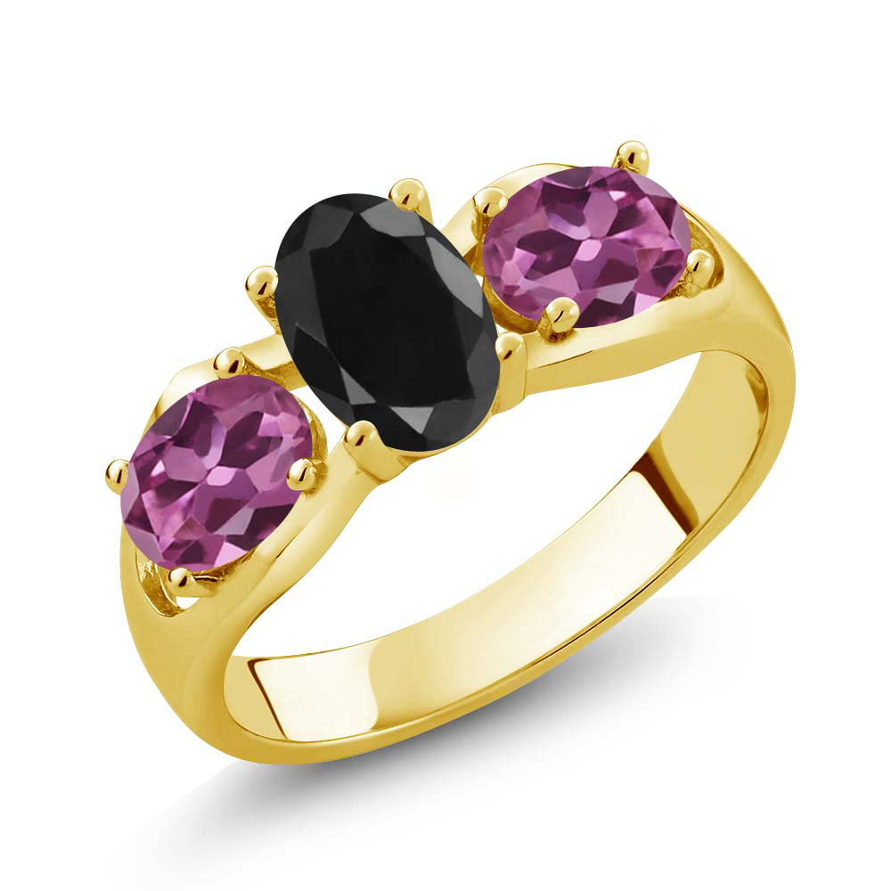 2.07 Ct Oval Black Sapphire Pink Tourmaline 18K Yellow Gold Ring by