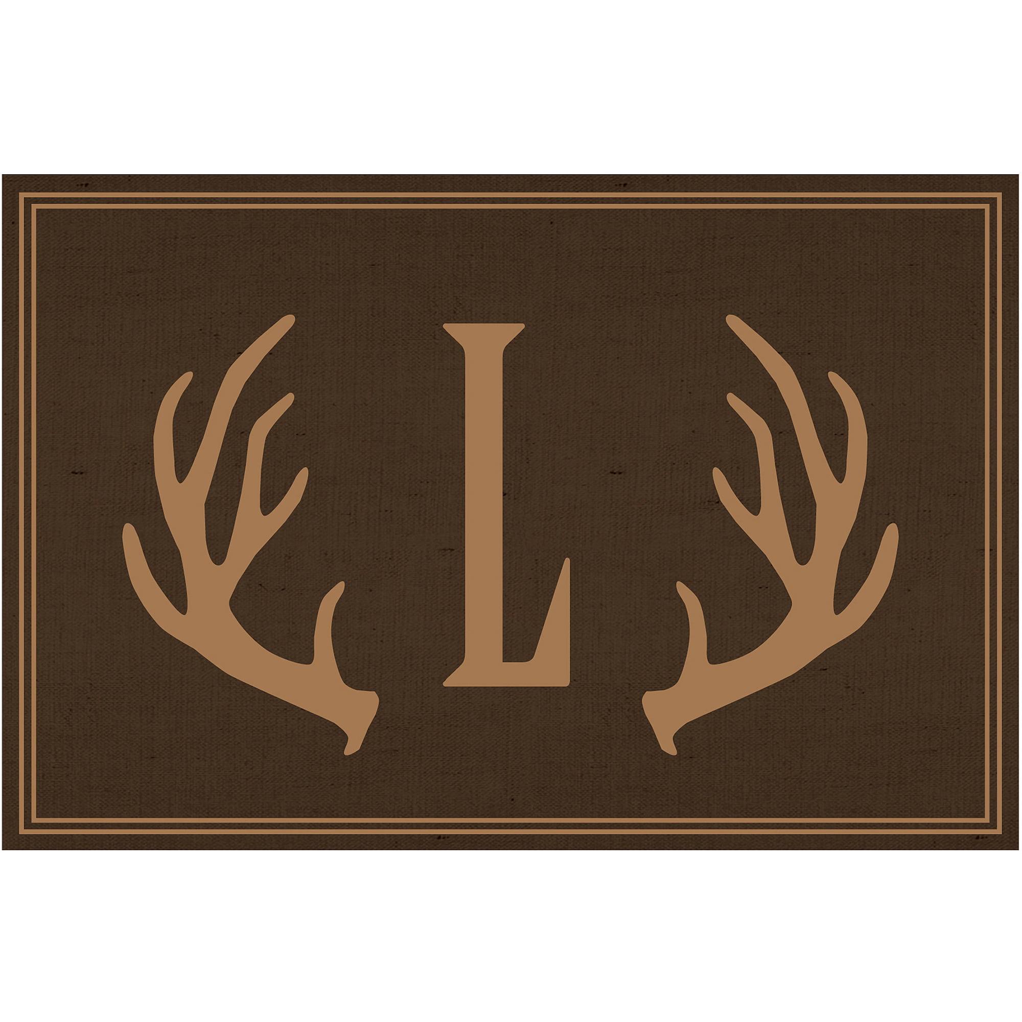Brown Antlers Personalized Doormat