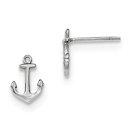 Sterling Silver Anchor Post Earrings (10MM Long x 7MM Wide)