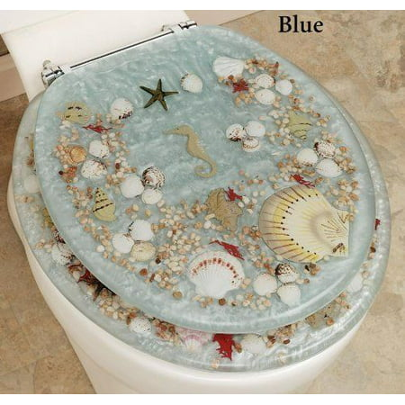 JEWEL SHELL SEASHELL AND SEAHORSE RESIN TOILET SEAT, CHROME HINGES,  STANDARD SIZE, BLUE (Toilet Seat Chrome Hinges)