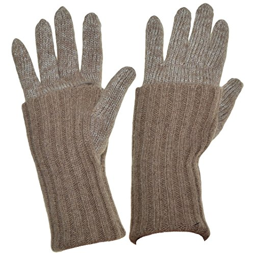 Grandoe Women's Cashmere & Lambswool WarmTouch Touchscreen Knit Gloves, 3 Styles (Light Brown, M)