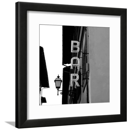 Black and White Neon Lights Spelling BAR in the Street Framed Print Wall Art By Robin Nieuwenkamp