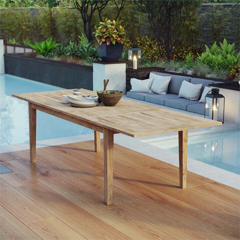 Modway Marina Extendable Outdoor Patio Teak Dining Table in Natural