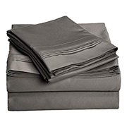 1000 Thread Count 100% Egyptian Cotton, Full Bed Sheet Set, Single Ply, Solid, Grey