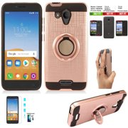 Phone Case For Tracfone Alcatel Raven Prepaid Smartphone/ Alcatel Verso Case + Screen Protector with Shock Absorbing Cover Ring-Holder (Slim Ring Rose Gold +Tempered Glass)