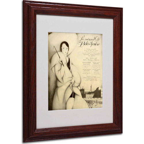 "Trademark Fine Art ""Venise Hotel"" Matted Framed Art by Vintage Apple Collection, Wood Frame"
