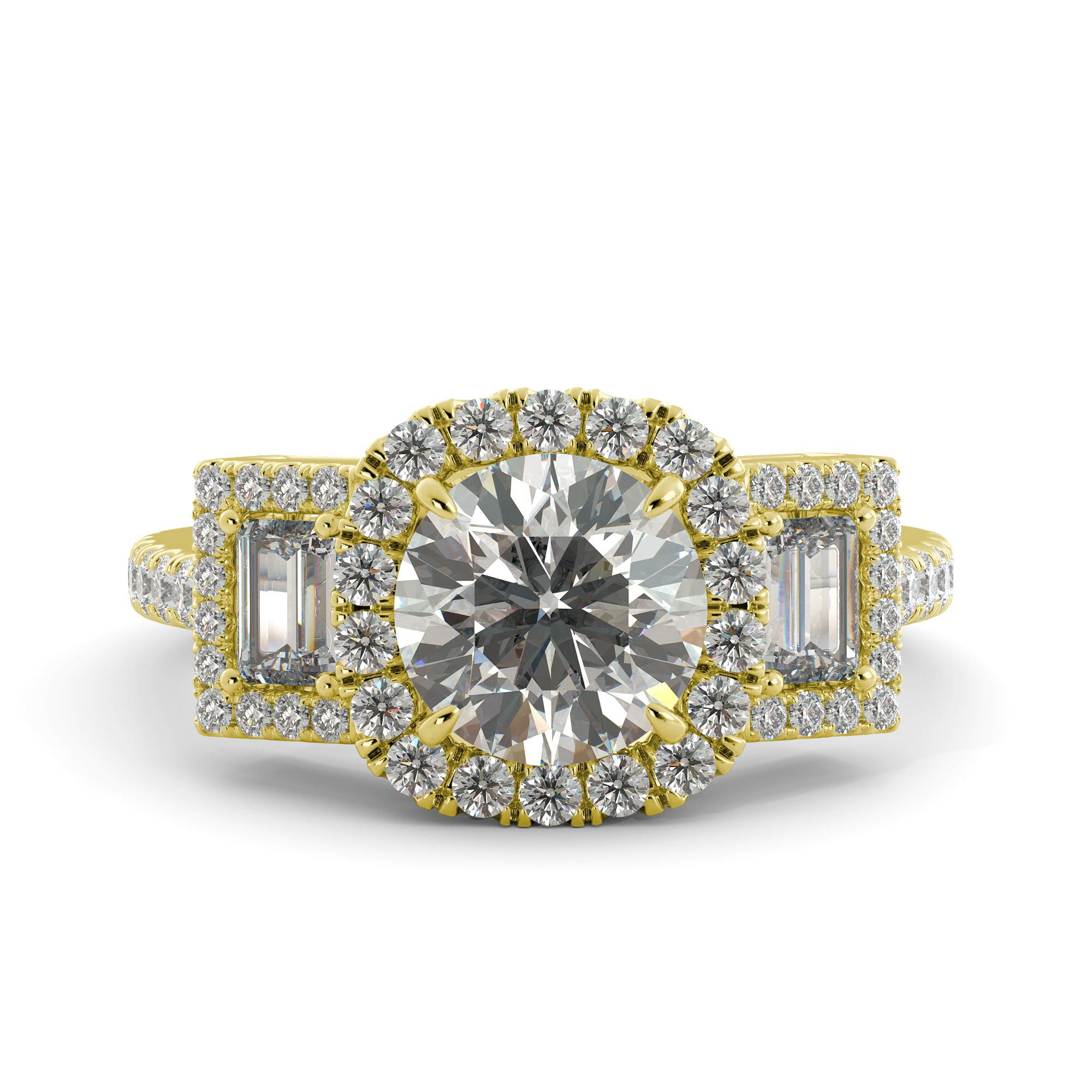 2.10 ct Round One Moissanite & Diamond 3 Stone Engagement Ring 14k Yellow Gold by J&H Jewelers