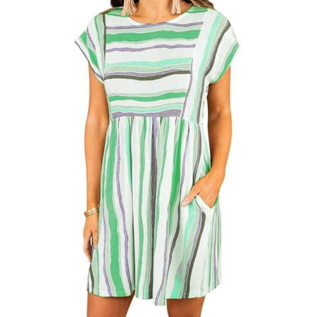 ZXZY Women Stripe Printed Round Neck Short Sleeves Mini Dress with Pockets