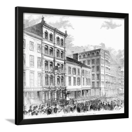 Firemen's Parade in Nyc; Illustration Framed Print Wall Art
