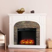Fairrbury II Stacked Stone Electric Fireplace, White