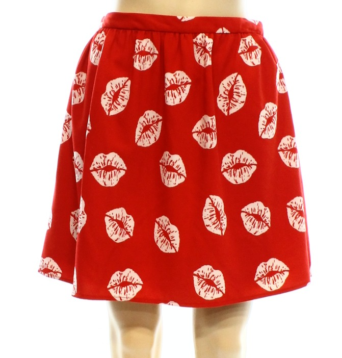 Sam Edelman NEW Red Lip Print Women's Size 0 Pleated A-Line Skirt $99