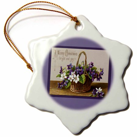 3dRose A Merry Christmas Basket filled with Purple and White Flowers on a Lavender Background - Snowflake Ornament, 3-inch