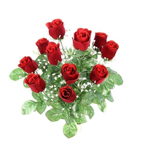 Charlton Home 12 Stems Artificial Velvet Rose Buds Floral Arrangement