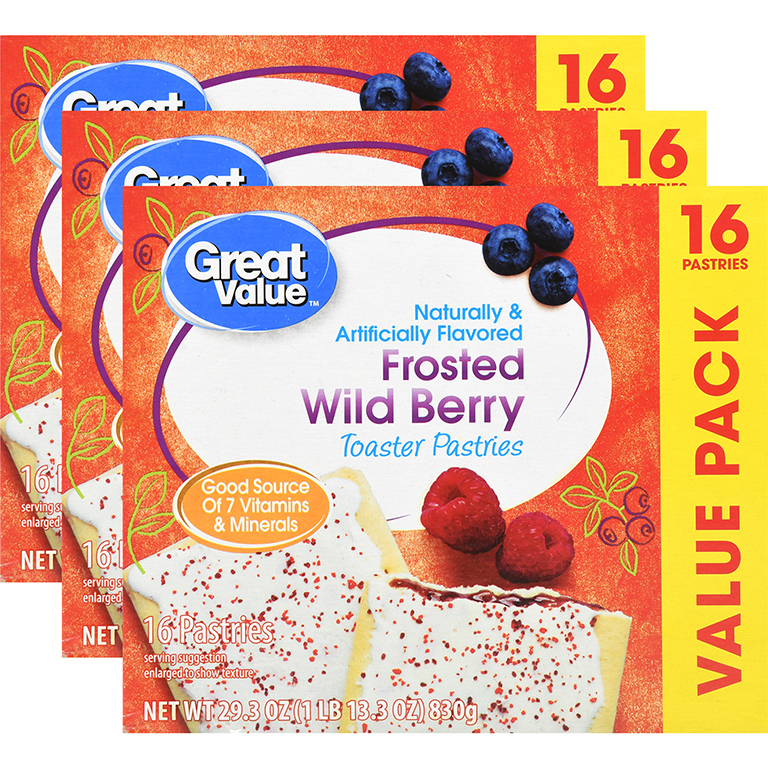 (3 Pack) Great Value Frosted Toaster Pastries, Wild Berry, 16 Count