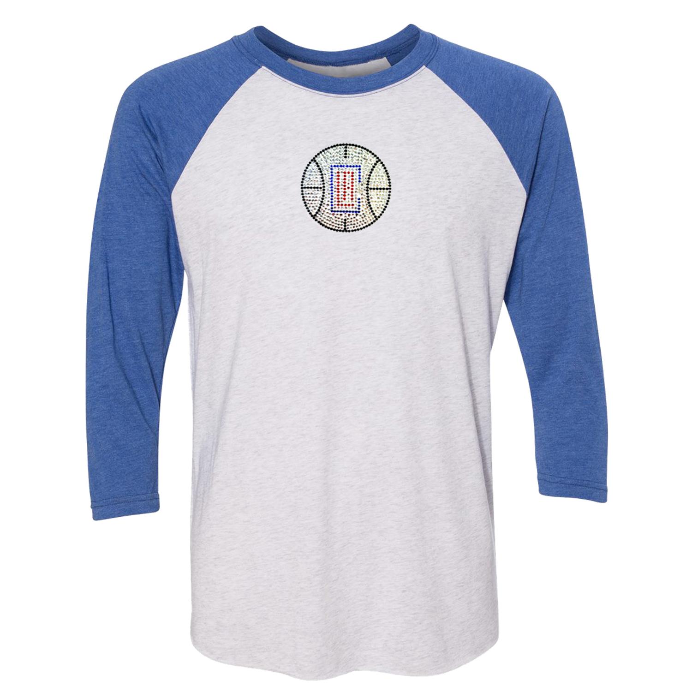 LA Clippers Women's Rhinestone Raglan 3/4-Sleeve T-Shirt - White