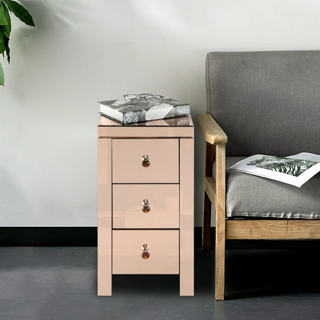 Lowestbest 3-Drawer Mirrored End Table, Mirrored Glass Bedside Table, Rose
