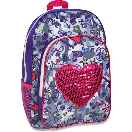 "Girls Rule 17"" Sequin Heart Backpack"