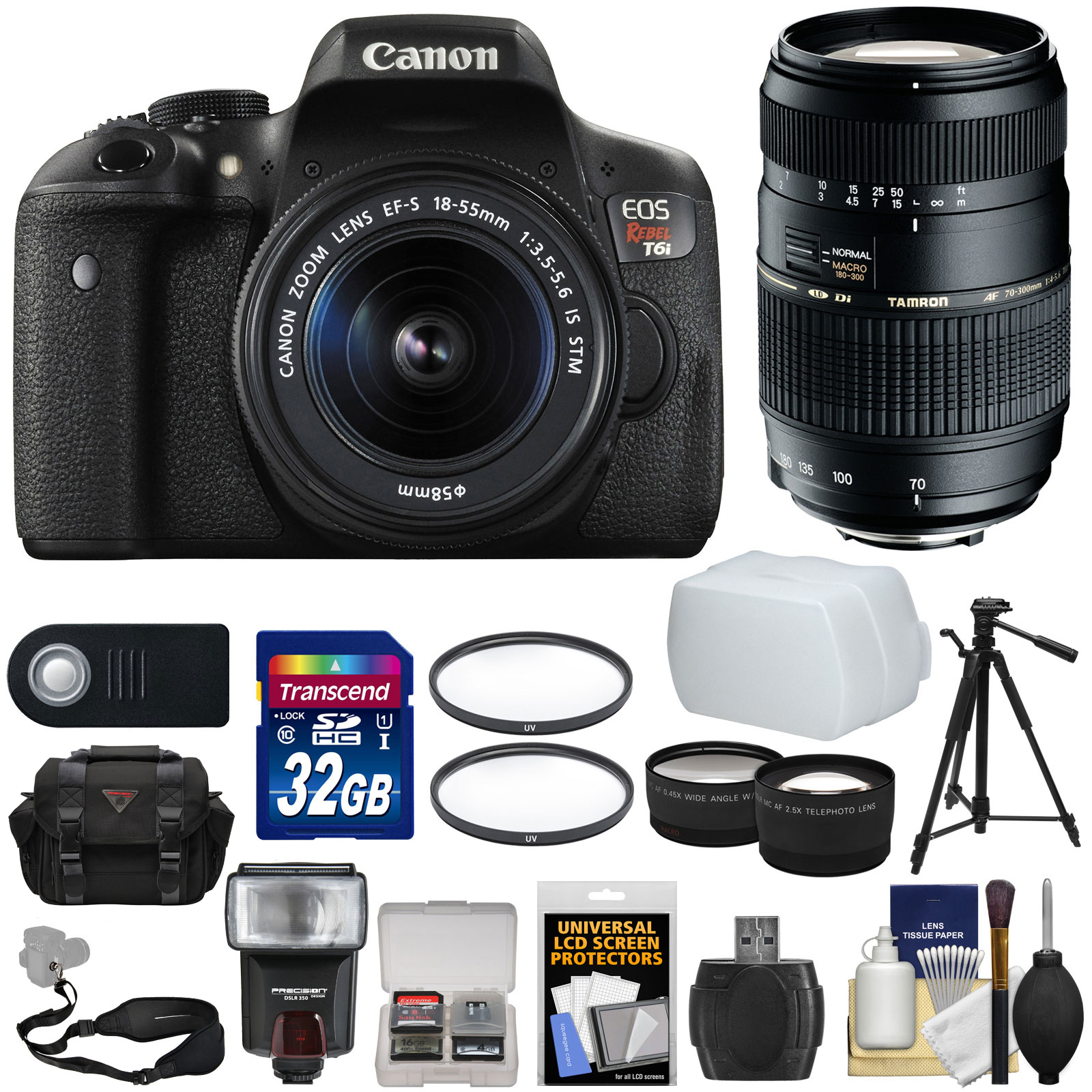 Canon EOS Rebel T6i Wi-Fi Digital SLR Camera & 18-55mm IS STM with 70-300mm Di Lens + Case + 32GB Card +... by Canon