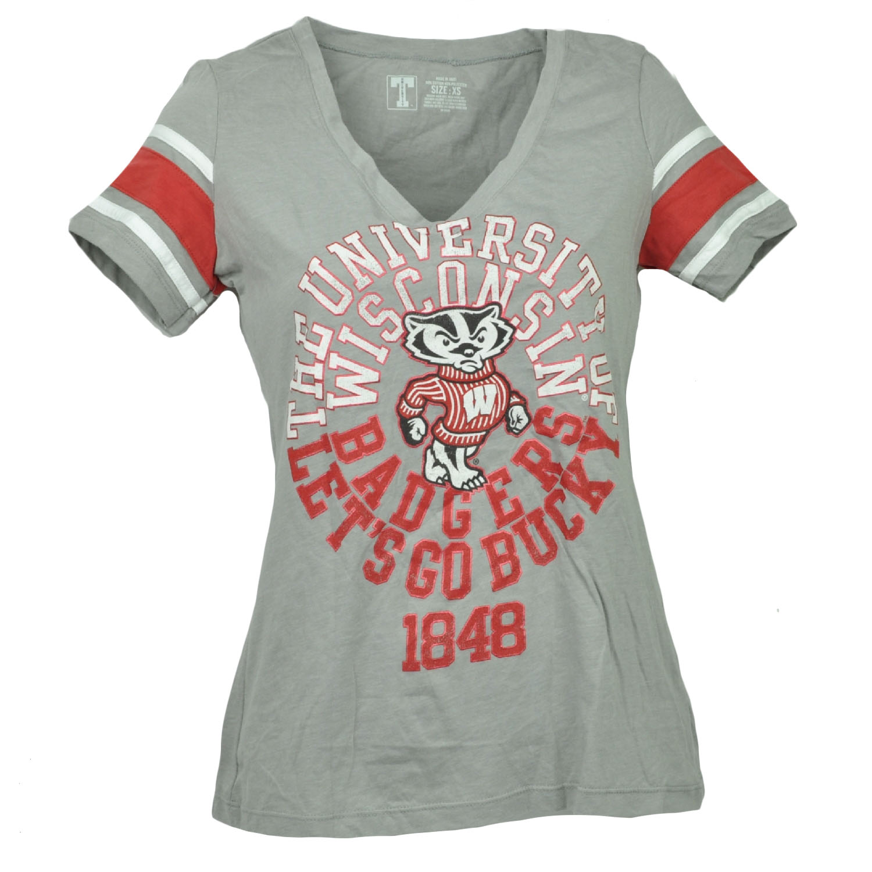 NCAA Wisconsin Badgers Gray V Neck Striped Short Sleeve Tshirt Tee Womens XLarge