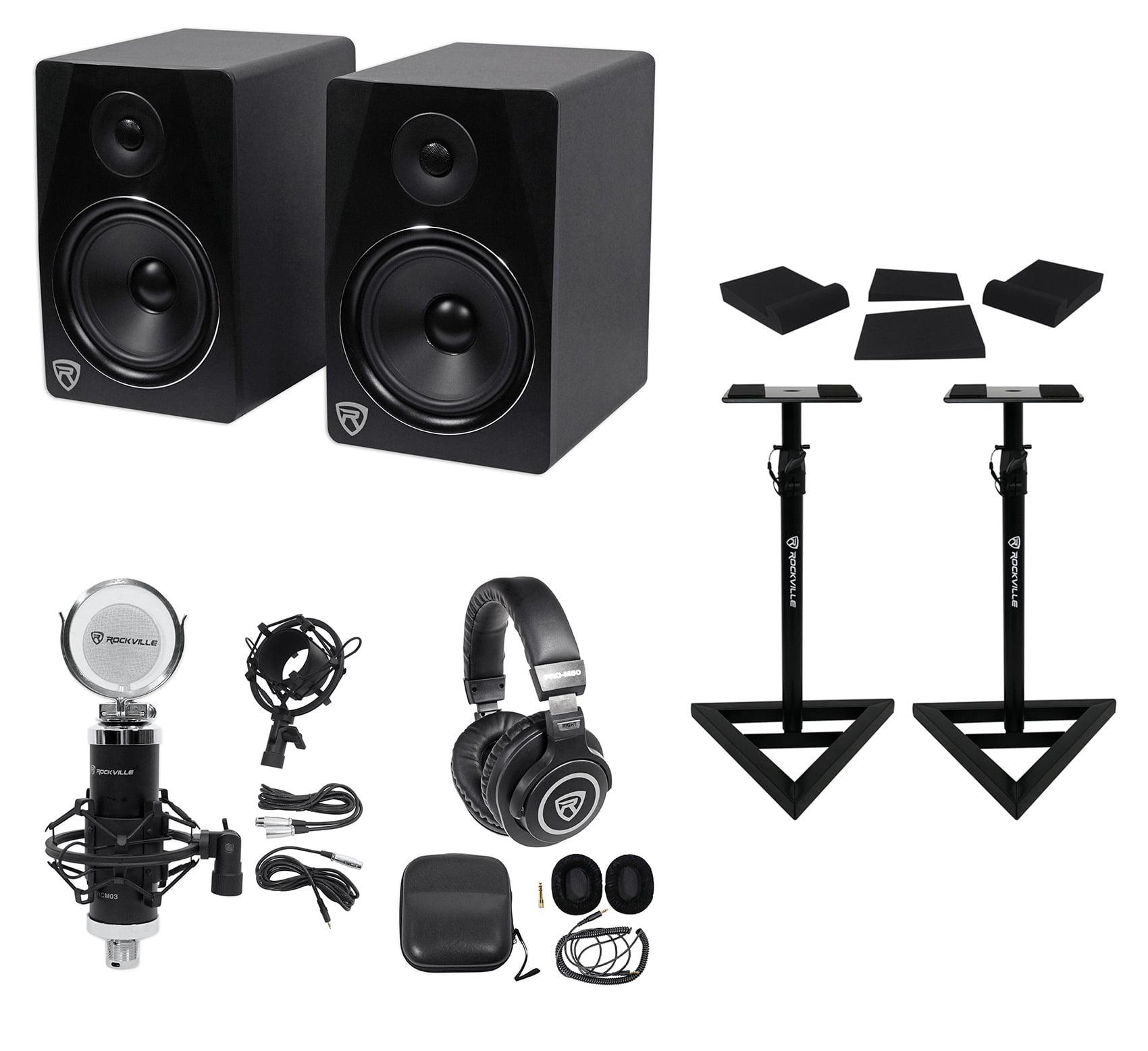 "2) Rockville APM8B 8"" 500w Powered Studio Monitors+Stands+Pads+Headphones+Mic by ROCKVILLE"