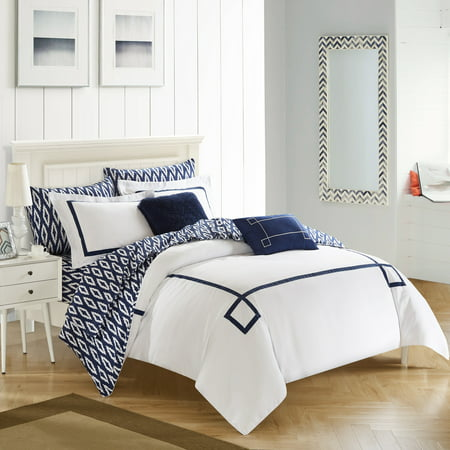 Chic Home 7 -piece Edrea, Contemporary Greek Key Embroidered REVERSIBLE, Navy BIB Comforter Twin XL Set, sheet set included