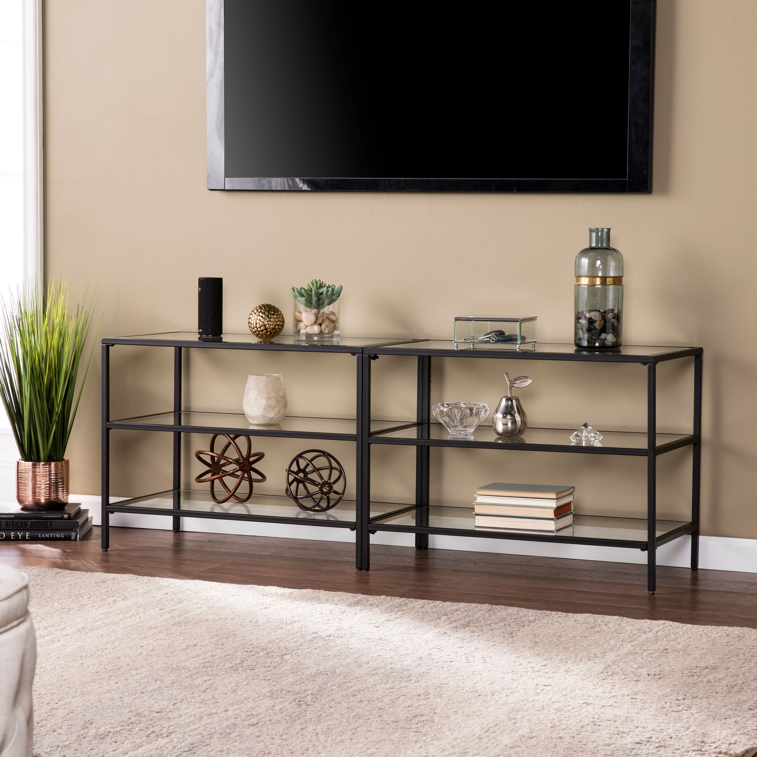 "Southern Enterprises Brilly Metal/Glass 60"" TV Stand, Matte Black"