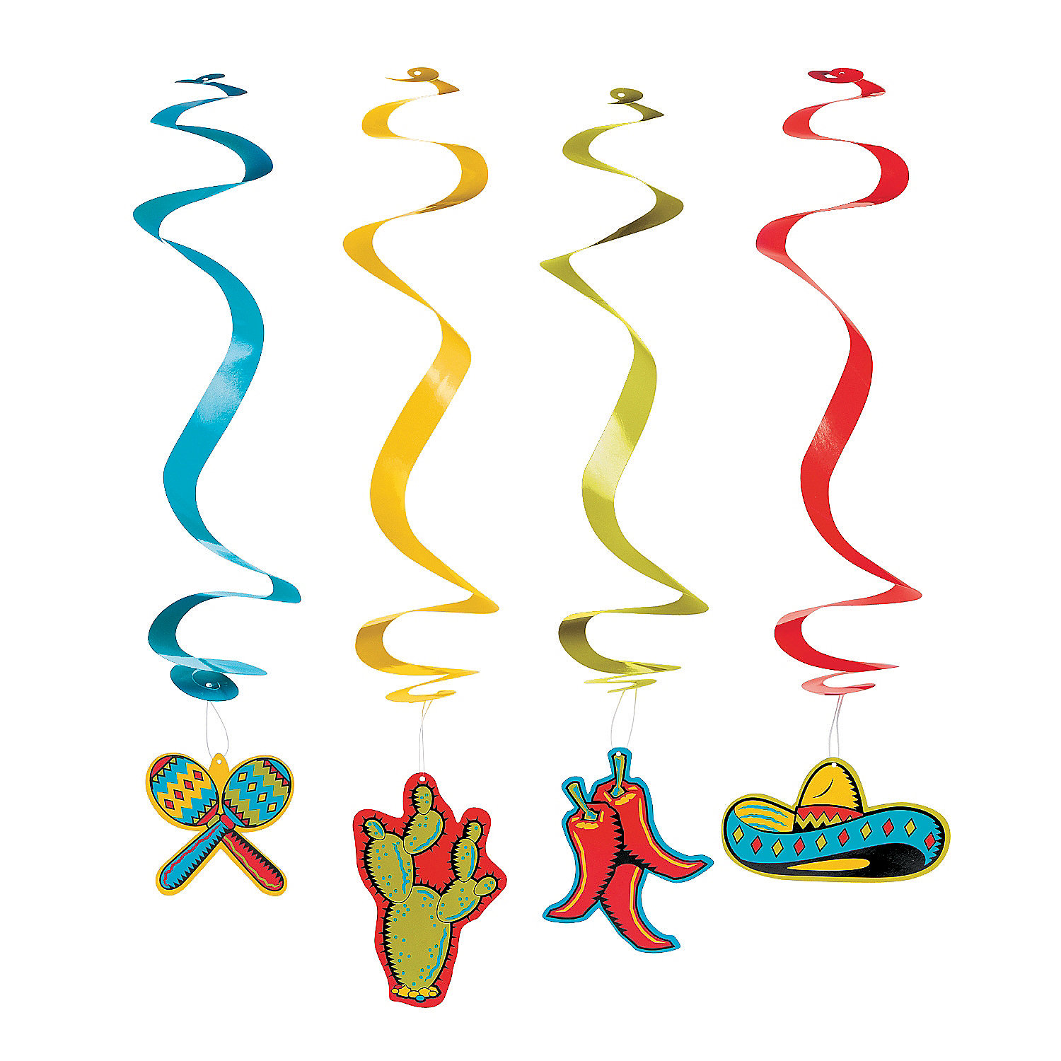 Fun Express - Fiesta Dangling Swirls for Cinco de Mayo - Party Decor - Hanging Decor - Spirals & Swirls - Cinco de Mayo - 12 Pieces
