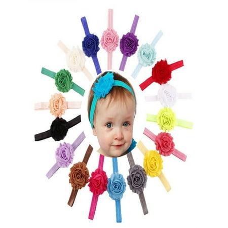 18PCS Babys Girls Elastic Shabby Flower Headband Photography Headbands -  Walmart.com 2275b86a953