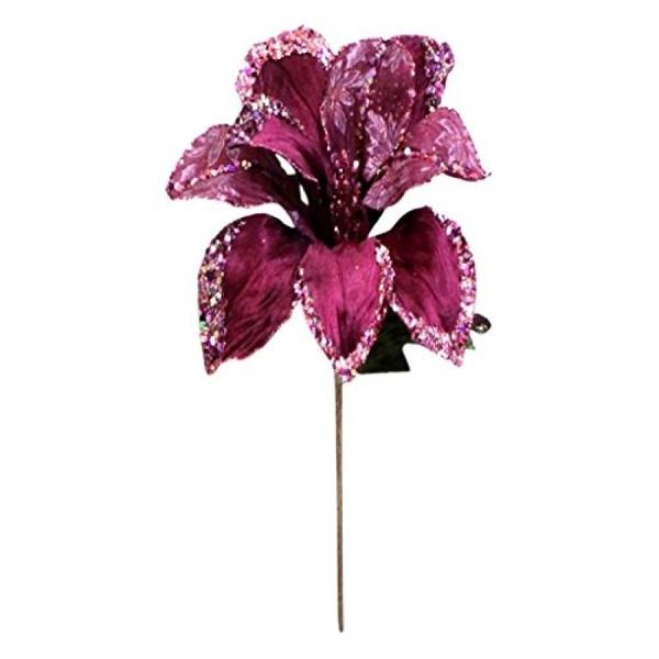 "Vickerman 30"" Mauve Beaded Velvet Magnolia Decorative Christmas Pick Featuring 1 Glitter Accented 11"" Flower Head. - image 1 de 1"