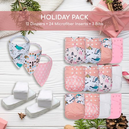 KaWaii Baby Holiday Gift Pack 12 One Size Cloth Diapers + 24 One Size Inserts + 3 Bibs - Glitter Stars - image 1 of 3
