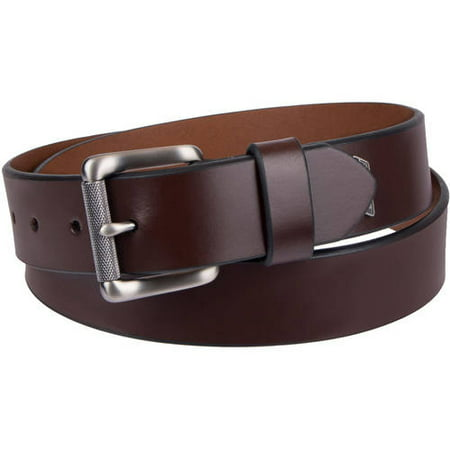 Dickies Men's Casual Leather Belt with Brushed Nickel Textured Roller