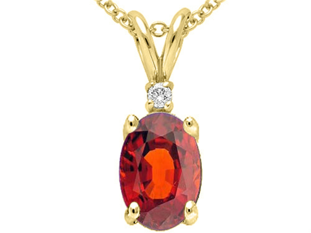 Tommaso Design Genuine Garnet Pendant Necklace by
