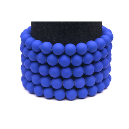 - Frosted Glass Beads Blue Rubber-Tone Beads 6mm Round Sold Per Pkg of 3x32Inch (465 Beads)