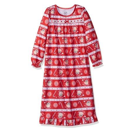 Elf on the Shelf Girls Christmas Holiday Granny Nightgown Pajamas - Holiday Nightgown