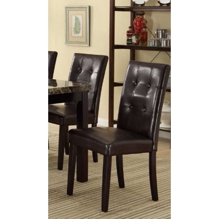 Set of 2 Faux Leather Espresso Dining Chair with Pine Wood Frame and Button Tufting Back Support