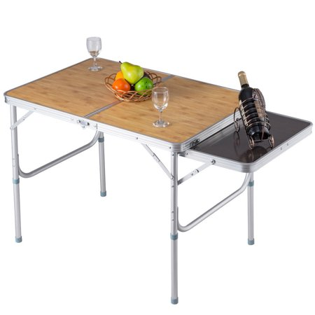 GHP 66-Lbs Capacity Aluminum & MDF Stretchable Desktop Indoor Outdoor Folding Table