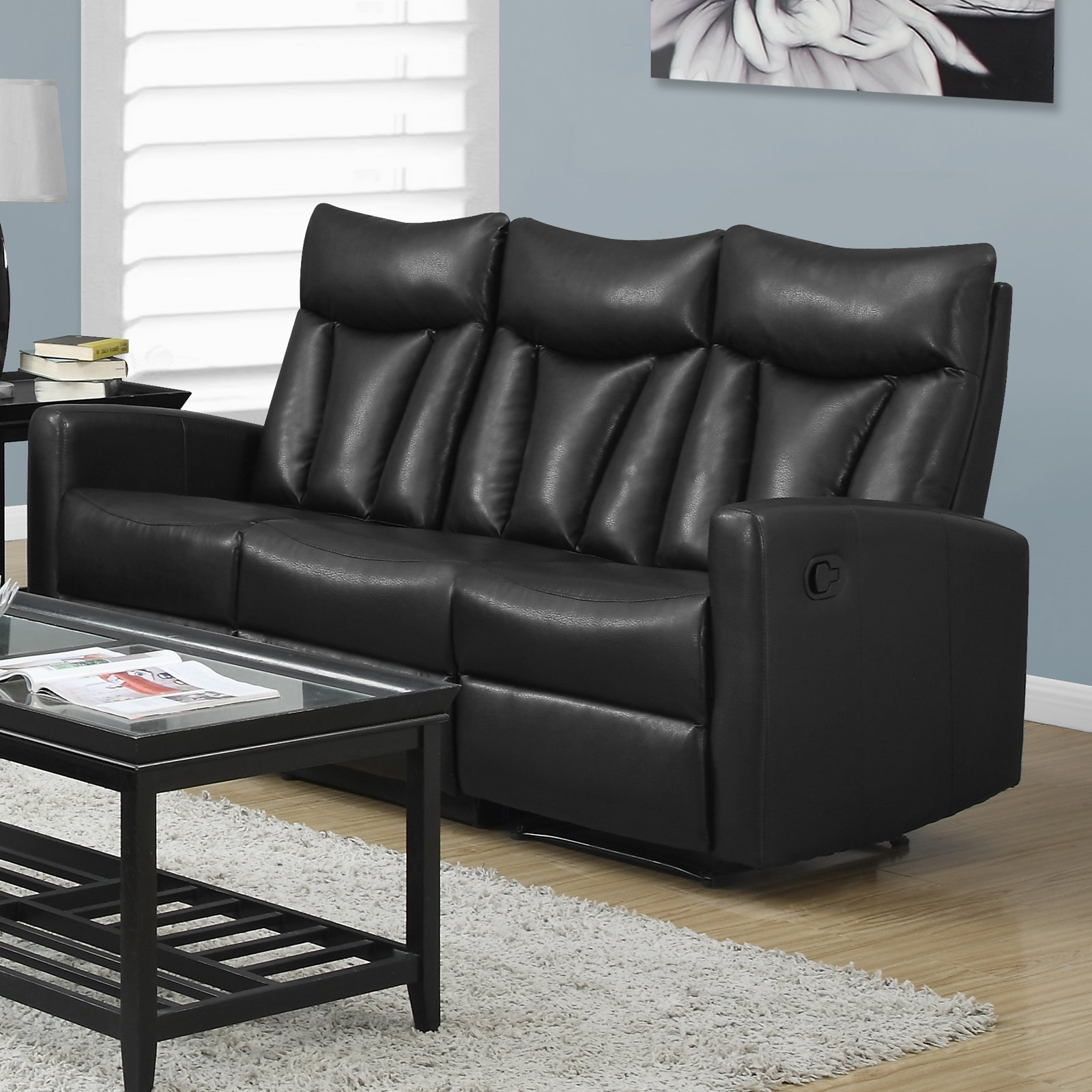 MONARCH   RECLINING   SOFA BROWN BONDED LEATHER
