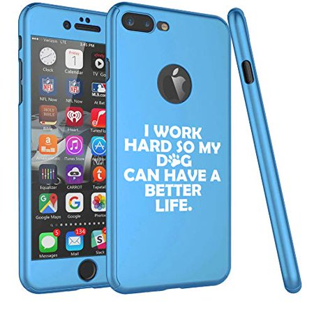 360° Full Body Thin Slim Hard Case Cover + Tempered Glass Screen Protector for Apple iPhone I Work Hard So My Dog Can Have A Better Life (Light-Blue, for Apple iPhone 7 / iPhone (My Iphone 4s Doesn T Have Siri)