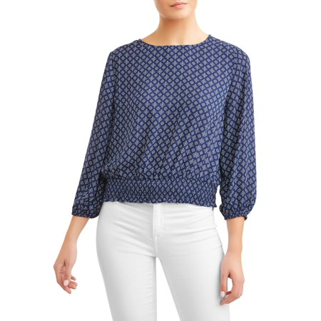 Smocked Woven Shirt - Women's Smocked 3/4 Sleeve Blouse