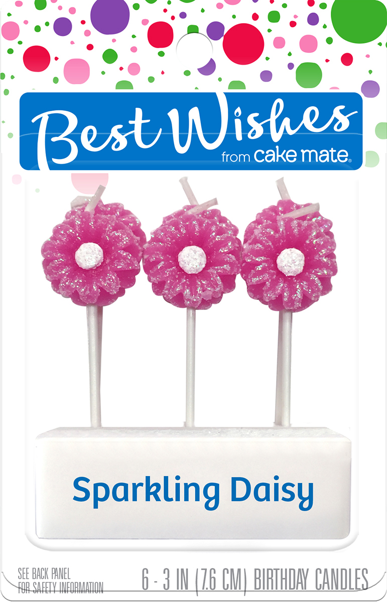 Best Wishes By Cake Mate Candles 6 Pkg Sparkling Daisy