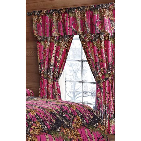 The Woods Hot Pink Camouflage 5pc Curtain Set by Regal Comfort For Hunters Cabin or Rustic Lodge Teens Boys and Girls (Curtain , Hot Pink)