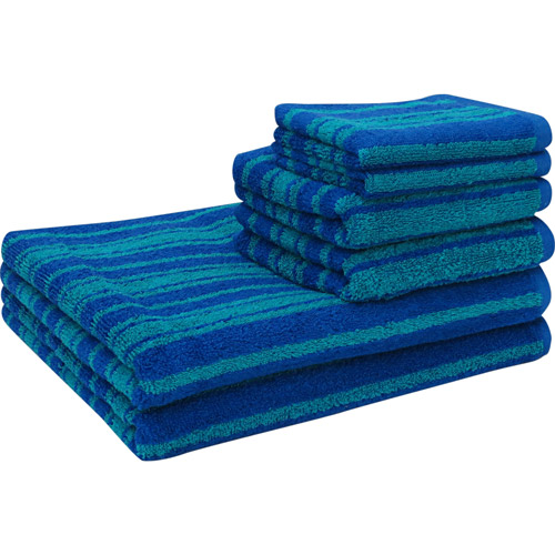 Mainstays Tc Yarn Dye 6 Pc Towel Set Royal/teal